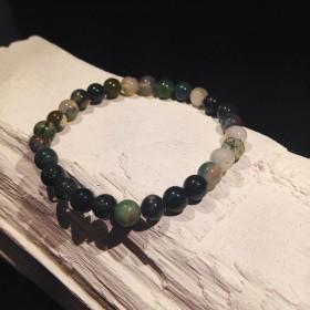 Bracelet billes Agate Mousse