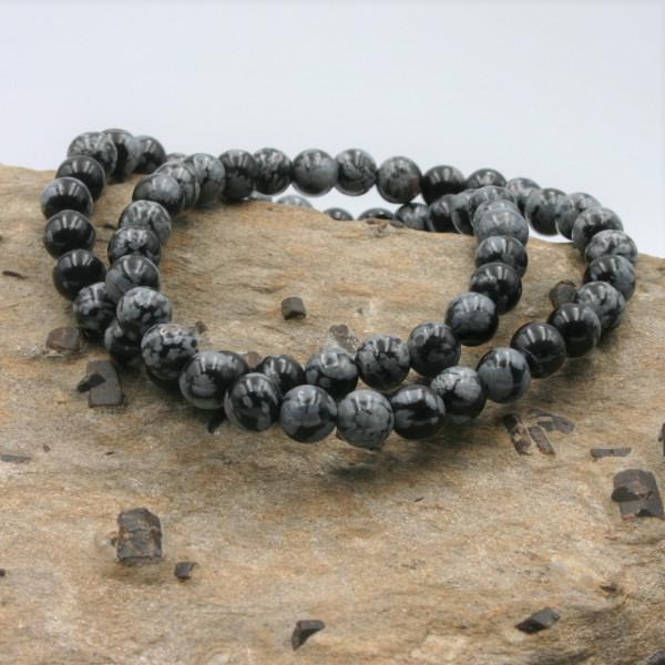 """Bracelet Obsidienne """"flocons de neige"""""""