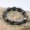"""Bracelet Obsidienne """"flocon de neige"""" et Hématite"""