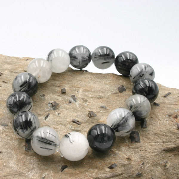 Bracelet Quartz à Tourmalines noires